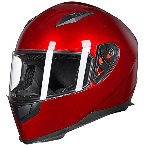 ILM Full Face Motorcycle Street Bike Helmet with Removable Winter Neck Scarf + 2 Visors DOT (L, Red)