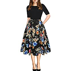 oxiuly Women's Vintage Patchwork Pockets Puffy Swing Casual Party Dress OX165 (XL