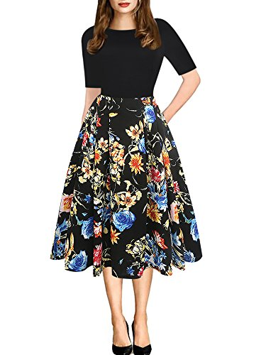 oxiuly Women's Vintage Patchwork Pockets Puffy Swing Casual Party Dress OX165 (L, Black Floral)