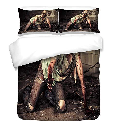 3Pcs Duvet Cover Set,Zombie Decor,Halloween Scary Dead Man in Old Building with Bloody Head Nightmare Theme,Grey Mint Peach,Best Bedding Gifts for Family/Friends