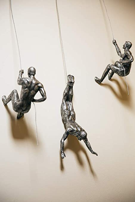 Antique Silver Climber Right-handed Handmade Climbing Man with Wire Rope Wall Mounted Art Sculpture