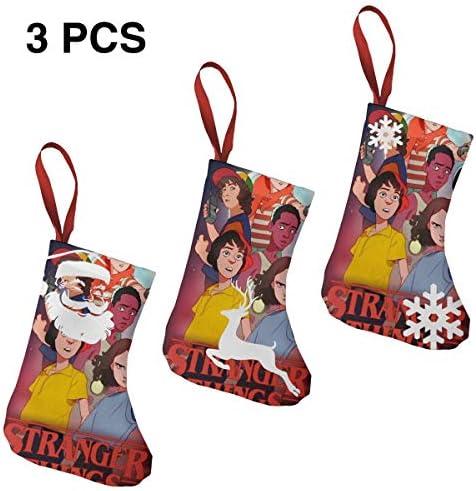 クリスマスの日の靴下 (ソックス3個)クリスマスデコレーションソックス 見知らぬ人のものStranger Things クリスマス、ハロウィン 家庭用、ショッピングモール用、お祝いの雰囲気を加える 人気を高める、販売、プロモーション、年次式