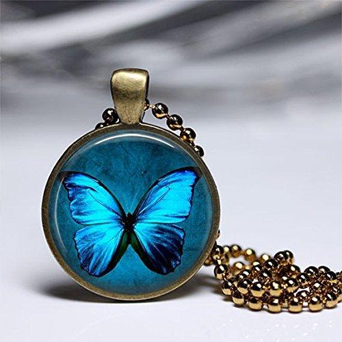 blue butterfly pendants,beautiful butterfly Necklaces,Glass Round Brass Pendant,Art Photo Jewelry,Glass necklace,