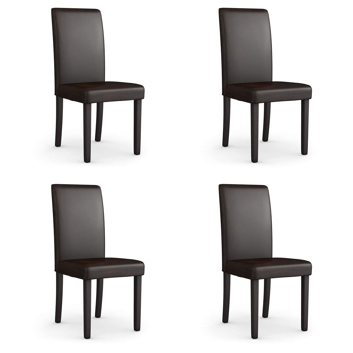 Giantex Set of 4 Upholstered Dining Chairs Set W/PU Leather Ergonomic Design Stable Frame Wear and Resistant Cover, Padded Dining Room Chairs (Deep Brown)