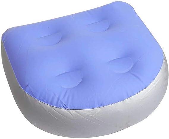 Coussin de bain pour adultes et Soutien du dos 2 PC Bleu Rehausseur de bain avec 5 ventouses solides Coussin gonflable et imperm/éable Tapis de massage rembourr/é Tapis de massage rempli