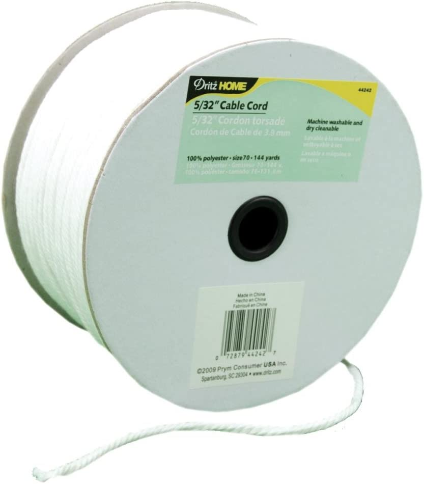 White 144 yards Dritz Home Cable Cord 5//32 in x 144 yd