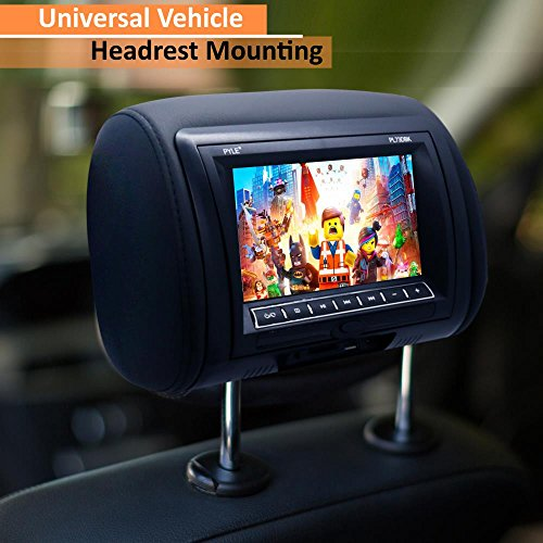 Pyle 7-Inch Car Headrest Mount, DVD Player, USB LCD Screen, Headrest Screen, Car Seat Monitor, Widescreen Monitor, IR Transmitter, Car Video Player, Headrest Covers, Remote Control, Black (PL73DBK) by Pyle (Image #7)