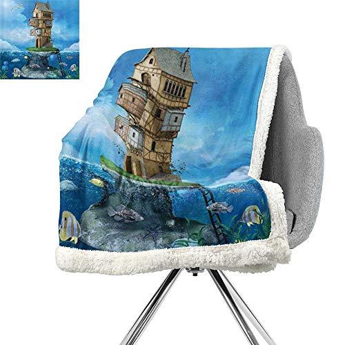 ScottDecor Cartoon Berber Fleece Blanket,Fantasy Fisherman House Fairytale Underwater Life Fishes Coral Cloudy Sky,Blue Brown Green,Soft Premium Cotton Thermal Blanket W59xL31.5 ()