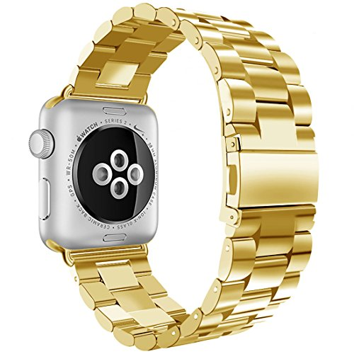 iiteeology 38mm 40mm Stainless Steel iWatch Band Link Bracelet with Adapters Compatible Apple Watch Series 4 Series 3 Series 2 Series 1 - Gold
