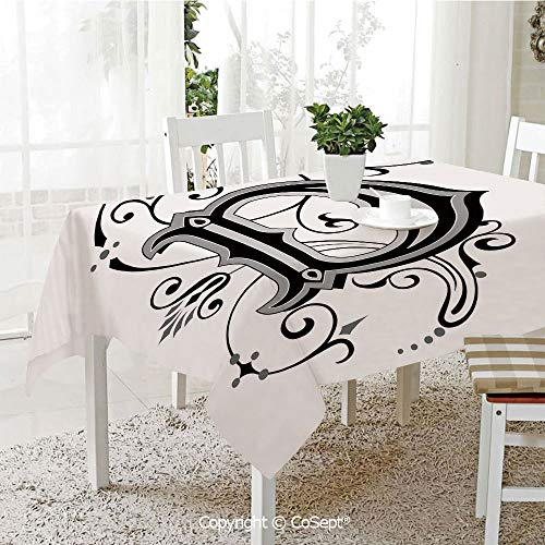 - Wrinkle Free and Stain Resistant Tablecloth,Initial Letter from Medieval Scrolls Capital D Symbol Medieval Design Print,Spill Proof,Machine Washable,Tablecloth for Use(60.23
