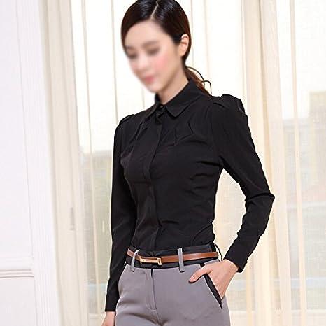 2015 SODIAL moda femenina camisa de manga larga elegante OL oído interno de las mujeres gasa blusa formal camisetas Negro señoras de la oficina, ...