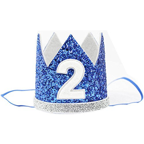 (The Golden Swallow 2nd Baby Boy Birthday Crown Headband Prince Party Hat Hairband Photo Prop)