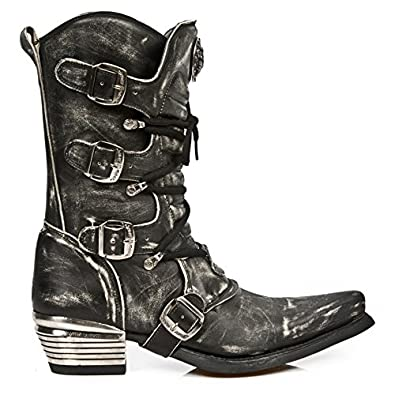 39eb7160 New Rock Men's Grey Dallas Distressed Black Cowboy Style Leather Boots  M.7993-S10