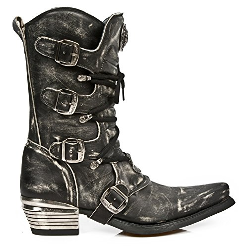 4f64df2b52a New Rock Men's Grey Dallas Distressed Black Cowboy Style Leather ...