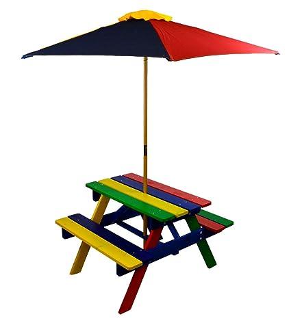 Pleasing Hgc Home And Garden Junior Rainbow Kids Picnic Table Set With Umbrella Creativecarmelina Interior Chair Design Creativecarmelinacom