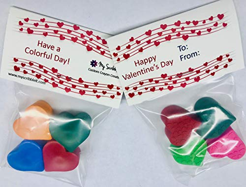 Classroom Valentine's Heart Crayons Bulk, Mini Hearts, 5 Packs, Teacher, Birthday -