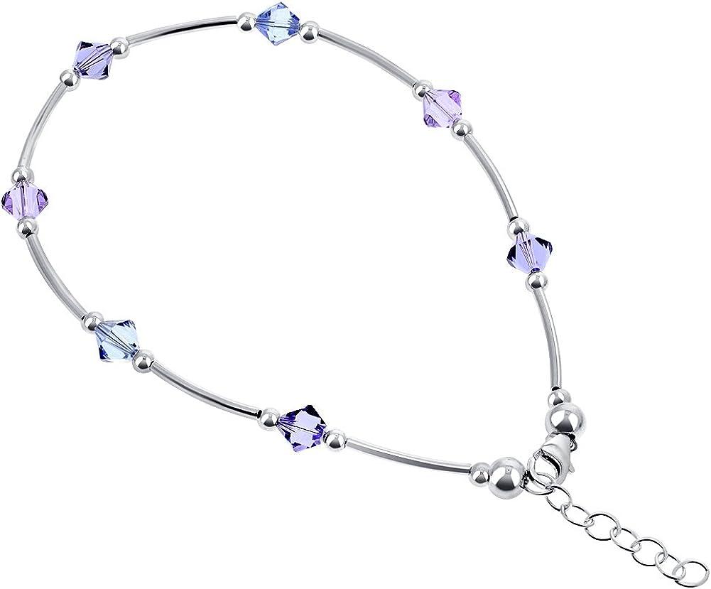 Gem Avenue Blue Swarovski Elements Bicone Crystal 925 Sterling Silver  Anklet 9 to 10