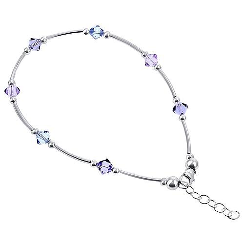 Gem Avenue 925 Sterling Silver Bicone Swarovski Elements Multicolor Crystal 9 to 10 inch Adjustable Anklet Ankle Bracelets for Women