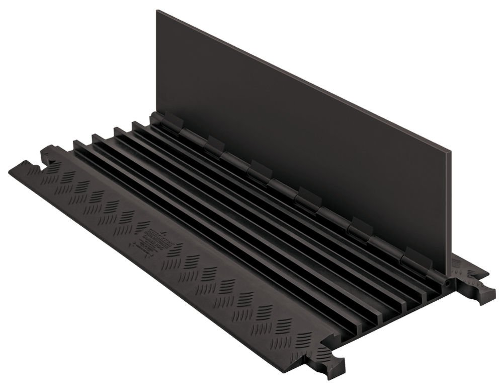Guard Dog GD5X75-ST-B/B Polyurethane Heavy Duty 5 Channel Low Profile Cable Protector with  Standard Ramp, Black Lid with Black Ramp, 36'' Length, 16.9'' Width, 1.25'' Height
