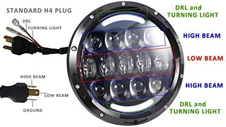 Black Pair 105W Brightest OSRAM 7 Inch Round Black Led Headlights with White//amber Turn Signal DRL for Jeep Wrangler JK//TJ and Hummer with H4/&H13 Adapter