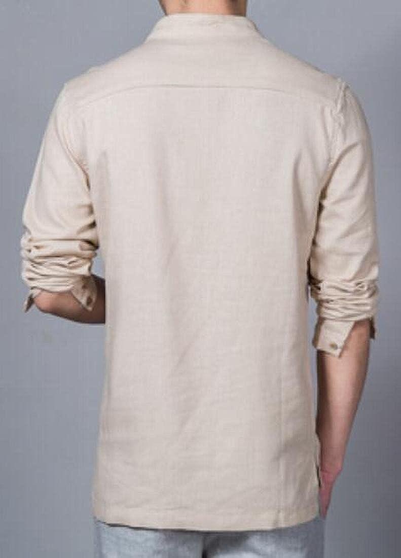 KLJR-Men Long Sleeve Slim Fit Linen Stand up Collar Pullover Blouse
