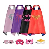 RioRand Dress Up Costumes Cartoon 4 Satin Capes With Felt Masks for Girls (4pc-capes)