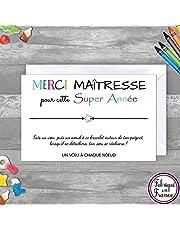 Carte de voeux MERCI MAITRESSE + Bracelet porte-bonheur pour faire un voeu + enveloppe 140x90 - Fabriqué en France - Cadeau fin d'année remerciement maitre, professeur des écoles