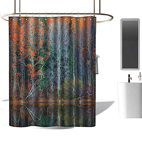 """TimBeve Shower Curtain Liner Mildew Resistant Leaves,Magical Forest with Tree Reflections Over The Lake Rural Forest Charm Scenic Concept, Brown Red,for Bathroom Showers, Stalls and Bathtubs 36""""x72"""""""