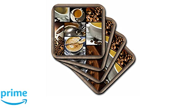 3dRose cst/_28754/_4 Coffee Themed Collage-Ceramic Tile Coasters Set of 8