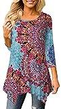 Moskill Women Floral Print Print 3/4 Sleeve Irregular Hem Asymmetrical Tunic Loose Blouse Tops Tunic Shirt Sky Blue1 2XL