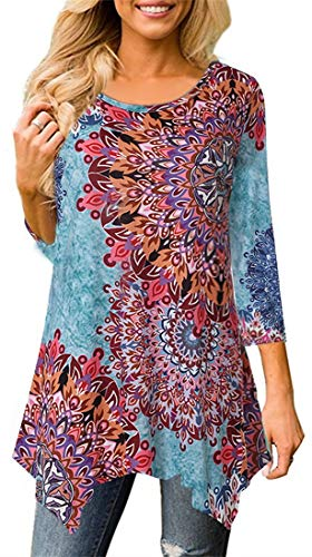 Moskill Women Floral Print Print 3/4 Sleeve Irregular Hem Asymmetrical Tunic Loose Blouse Tops Tunic Shirt Sky Blue1 2XL by Moskill