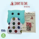 FairyDust-msh Teething Mitten baby Toy-Self Soothing Pain reliever glove, prevent scratches & and chewing-safe food grade silicone BPA FREE-unisex 3-12 months-Jimmy the owl=my first pal (Blue)