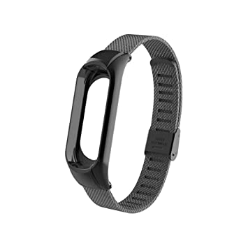 Xiaomi Mi Band 3 Replacement Strap, OLLIVAN Miband 3 Replacement Band 16-22CM,Double Elastic Buckle Stainless Steel Metal Wrist Strap Wristband ...