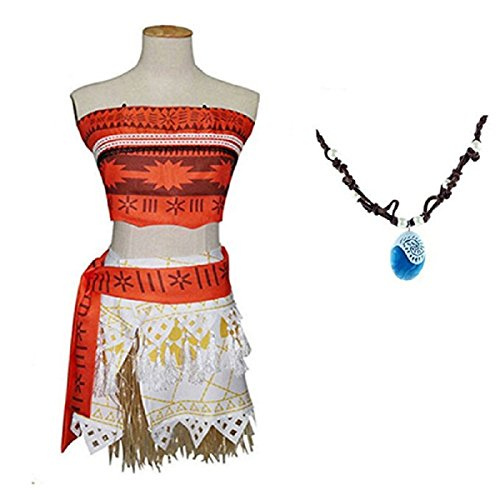 Girls Adventure Outfit Halloween Cosplay Costume Skirt Set with Necklace (150cm)