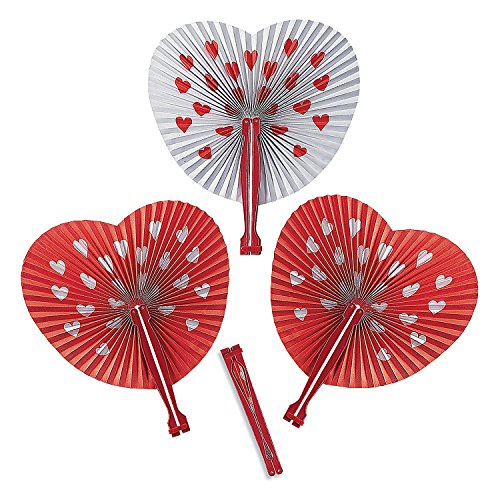 Valentine Red and White Heart Folding Fan; Pack of 12 - Heart Shaped Hand Fans
