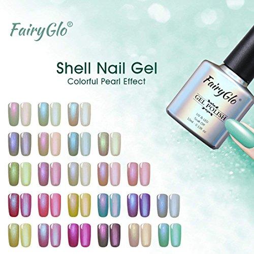 24PCS Pearl Nail Polish Set Mermaid Gel Manicure Salon Decor Nail Art Elegant Shell Shiny Under Light UV LED Soak Off Gift Set FairyGlo 10ml