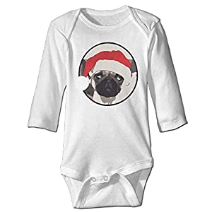 Cute Christmas Pug Head Portrait Cotton Infant Baby Onesie Bodysuit