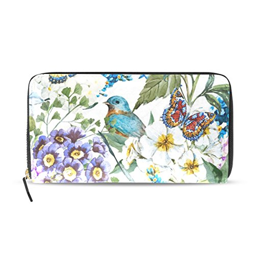 Womens Wallets Watercolor Floral Summer Leather Passport Wallet Coin Purse Girls Handbags