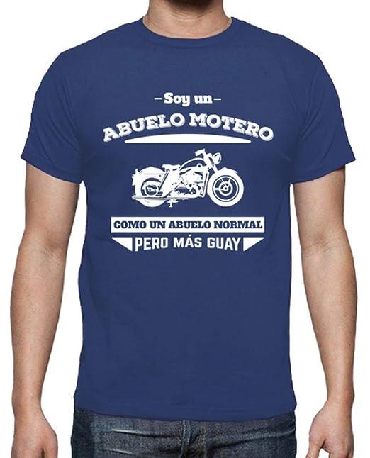 latostadora - Camiseta Abuelo Motero, como un para Hombre Azul Royal M