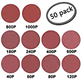 GeBot 50PCS 8-Inch NO-Hole PSA Aluminum Oxide Sanding Disc Assorted 40/60/80/120/180/240/400/600/800/1000 Grits (8 Inch)