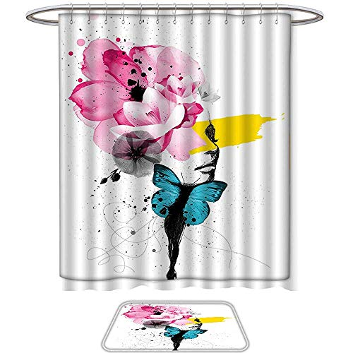 QINYAN-Home 2-Piece Bathroom Set Floral Mixed Media Illustration a Woman Portrait Butterfly Wings Petal Grunge Print Multicolor. 1-Shower Curtain,1-Mats(Ten Sizes Select) 10 Mixed Media Print