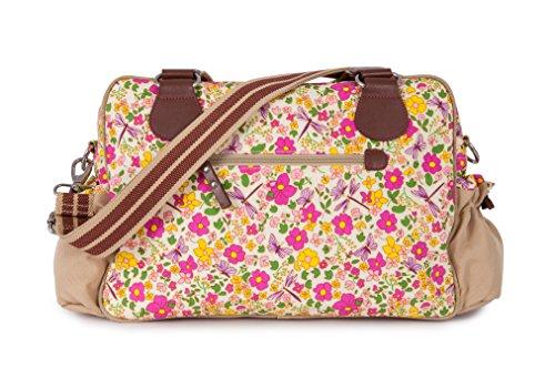 Pink Weekender Diaper Bag - Pink Lining Not So Plain Jane Napy Bag, Cottage Garden