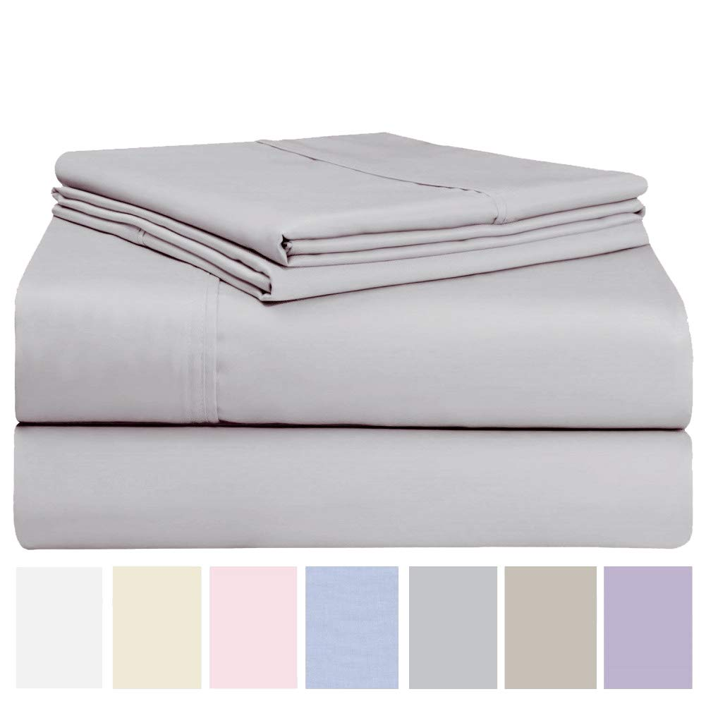 Fade /& Stain Resistant Luxurious Cotton Rich 600 Thread Count Bed Sheet Sets 4 Piece Set Quick Dry King//Queen Extra Elasticity /& Breathability Soft /& Wrinkle Free Queen, Lavender
