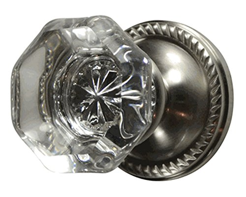 (Providence Octagon Real Crystal Door Knob Set with Georgian Roped Rosettes in Brushed Nickel (Privacy Bed/Bath))