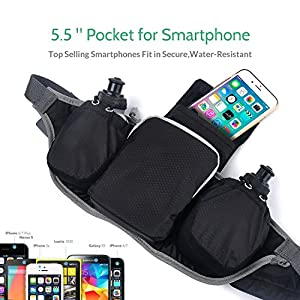 KSCAT Hydration Running Belt Fanny Pack Waist Pack Waterproof Running Belt with 2 BPA Free Water Bottles for iPhone 7/6S Plus Galaxy S6 S7 Note 6 for Running Hiking Cycling Travelling