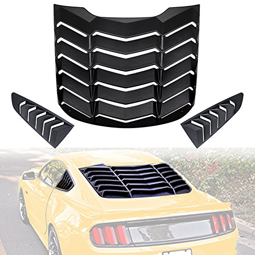 【Upgrade Version】 Opall ABS Rear Window Louvers & Quarter Side Window Scoop Louvers in Matte Black for 2015 2016 2017 2018 Ford Mustang ()