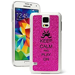 Samsung Galaxy S5 Glitter Bling Hard Case Cover Keep Calm and Play On Hockey (Hot Pink)