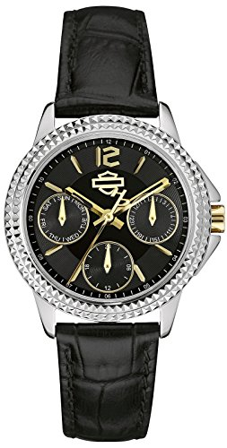Harley-Davidson by Bulova 78N100 Women's Analog Multifunction Dial Watch Black Leather Strap ()