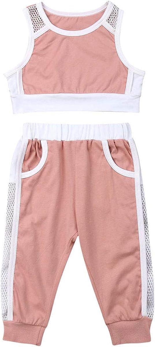 Pantaloni//Pantaloncini Sportivi Carolilly 2 PCS Set Completo Sportivo Bambina Ragazza Crop Top Canotta Rosa Nero