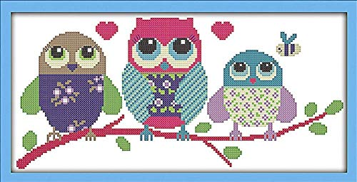 Full Range of Embroidery Starter Kits Stamped Cross Stitch Kits Beginners for DIY Embroidery with 40 Pattern Designs - Cartoon owl